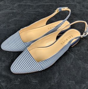 Talbots Pointed Stripes Slingbacks Flats
